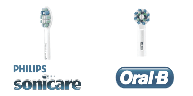 image of oral b vs sonicare brush head